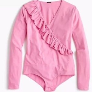 NWT J Crew Pink Ruffle-front Wrap Bodysuit
